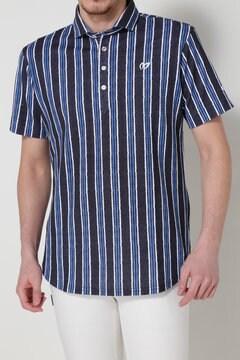 チェーンストライププリント 鹿の子ポロシャツ(MENS)