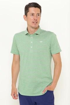 撚り杢 カノコ ボーダー 半袖 カラーシャツ