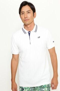 麻リバー亀甲ハニカム 半袖ポロシャツ