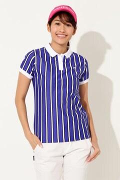 ファインクール ストライプ半袖ポロシャツ(LADIES)