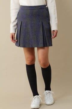 ウールツイルカラー チェックストレッチスカート(LADIES)