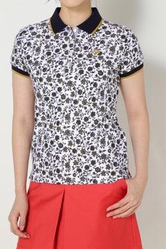 更紗柄プリント ツイル鹿の子ポロシャツ(LADIES)