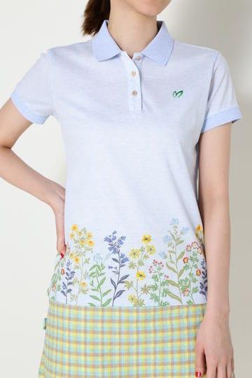 フラワー刺繍 鹿の子ポロシャツ(LADIES)