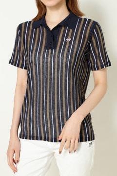 【MASTER BUNNY SALE品2点以上10%OFF】Roberto Collina ストライプメッシュポロシャツ(LADIES)