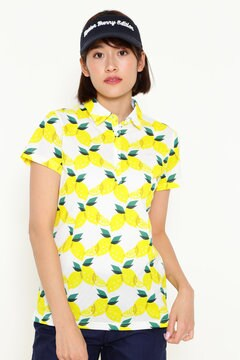 レモン総柄プリント 半袖ポロシャツ