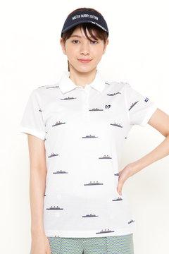 綿セオ αカノコ 船ボーダー 半袖 ポロシャツ