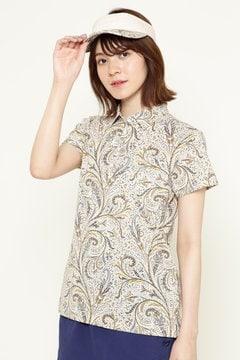 フラワー柄 LIBERTY プリント 半袖ポロシャツ
