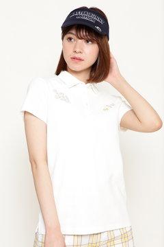 インド刺繍柄 リバー亀甲ハニカム 半袖ポロシャツ