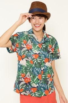 モンステラプリント カットソー オープンカラーシャツ