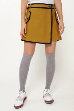 トリコット スーパーストレッチ ラップスカート風 ショートパンツ