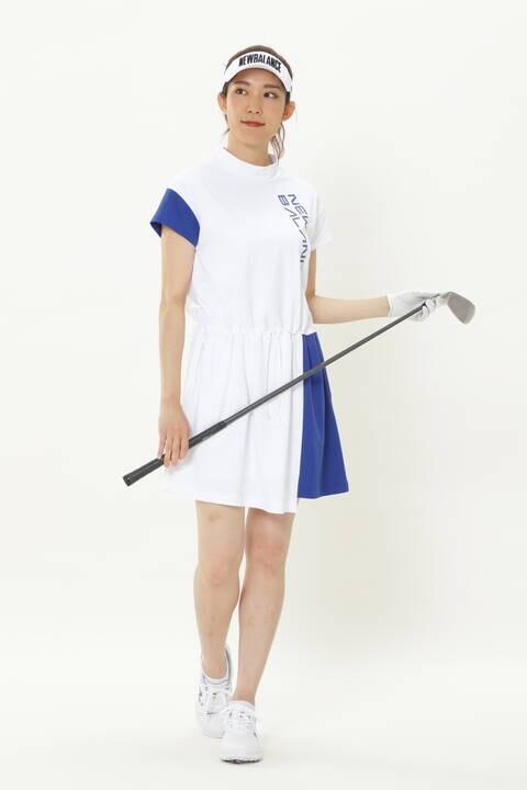 ストレッチパイナップルピケ 半袖 モックネック ワンピース (WOMENS SPORT)