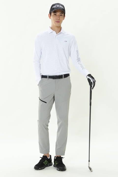 スパイラルロゴタイププリント 長袖 ポロシャツ (MENS SPORT)