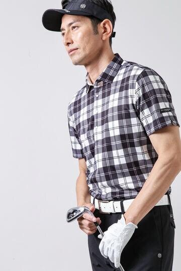 COOLMAX 鹿の子チェックプリント半袖シャツ (MENS)