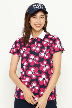 リップル天竺 桜プリント 半袖 ポロシャツ<桜モチーフ>