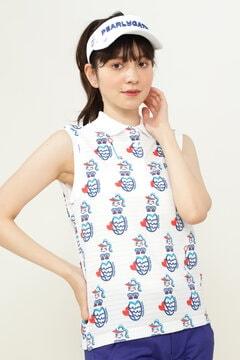 変形 カノコ ボーダー マーメイドプリント スリーブレス ポロシャツ<MARMAID SERIES>