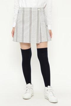 プラスヒート表ピーチ ラップスカート風 ショートパンツ <ヘリンボンプリント>