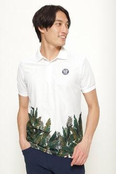 パネル ボタニカル柄 半袖 ポロシャツ