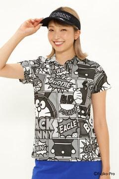【ドラえもん】Cool on Cool POP アート 総柄 半袖 ポロシャツ