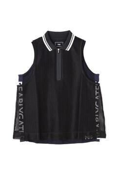 【PGG】スクエアレース スリーブレス ハーフジップ ポロシャツ (LADIES)
