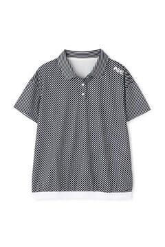 【PGG】半袖 ワッフル ポロシャツ <バイアスボーダー柄> (LADIES)