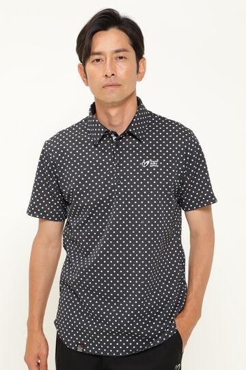 ドットプリント ワッフル ストレッチ カノコ 半袖 ポロシャツ