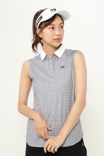千鳥 ジャガード スリーブレス ポロシャツ <千鳥柄シリーズ>