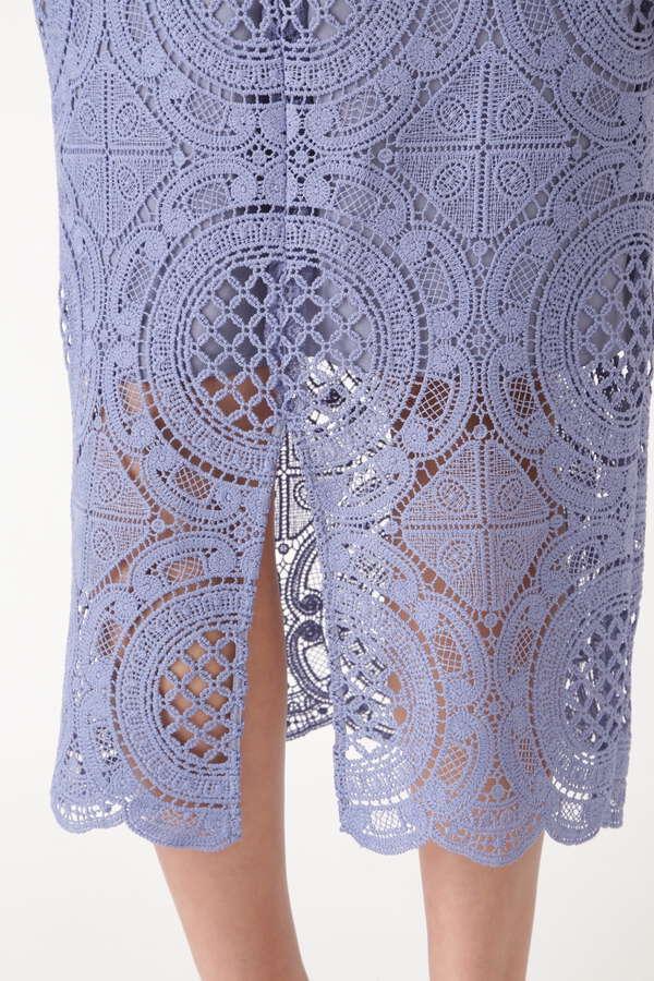 サークルレースロングタイトスカート
