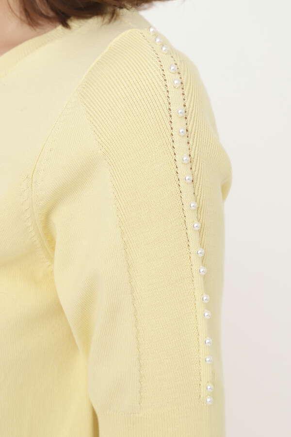 ジャンヌパール付半袖ニット