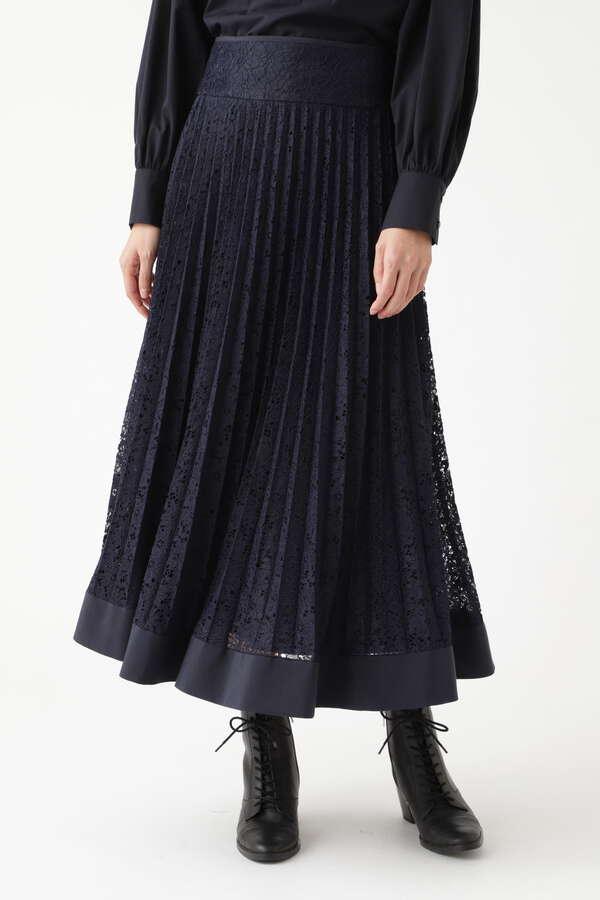 【WEB限定 サイズ:4 展開・美人百花掲載】ユラレースプリーツスカート