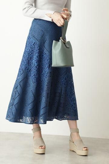 【WEB限定 サイズ:4 展開・美人百花4月号掲載】レースブロッキングスカート