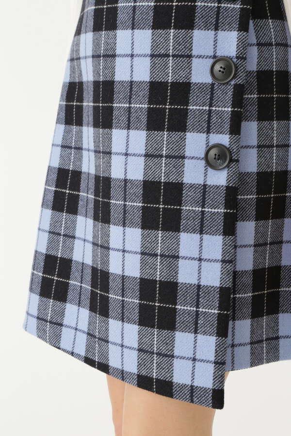 ルーチェックラップ台形ミニスカート