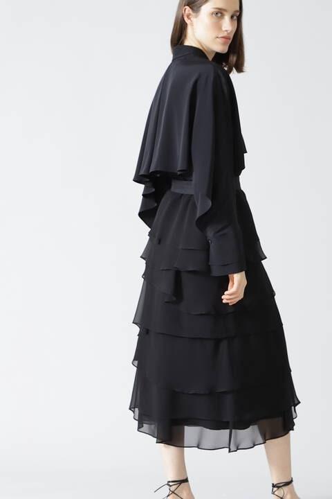 <BLACK LABEL>SILKレイヤードラッフルスカート