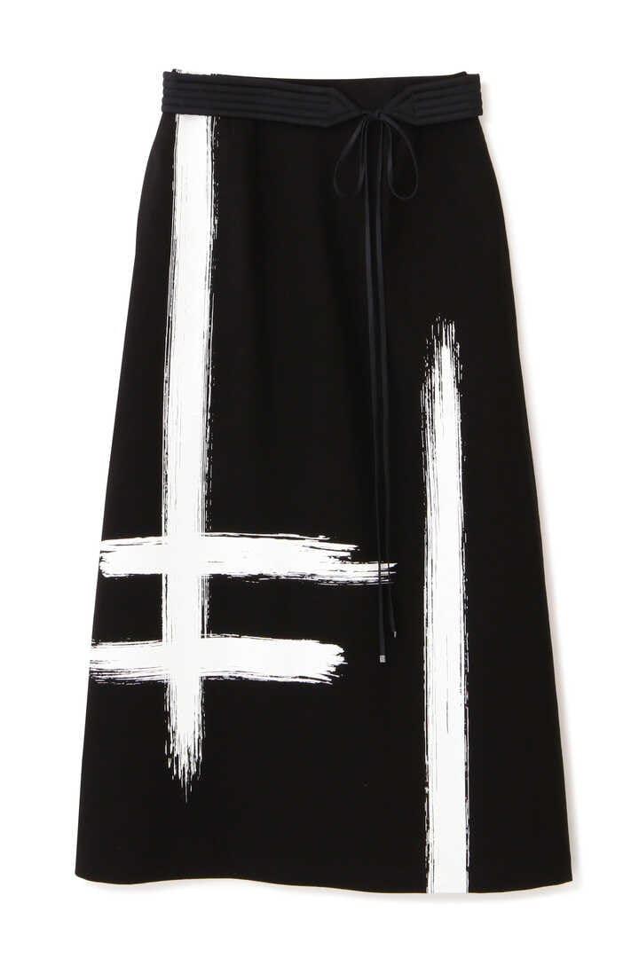 ブラッシュストロークプリントスカート