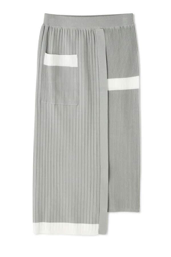 アクセントラインニットスカート
