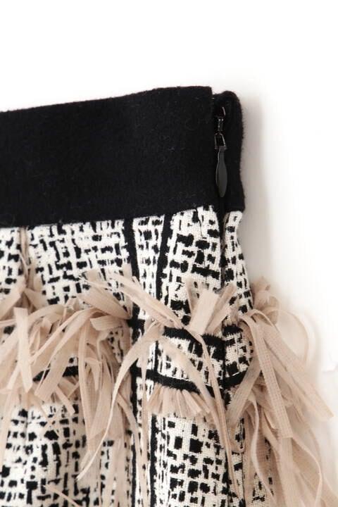 <BLACK LABEL>フリンジツイードスカート