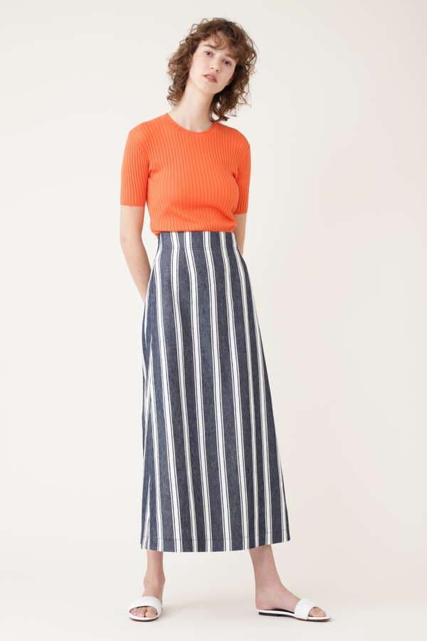 ランダムストライプAラインスカート