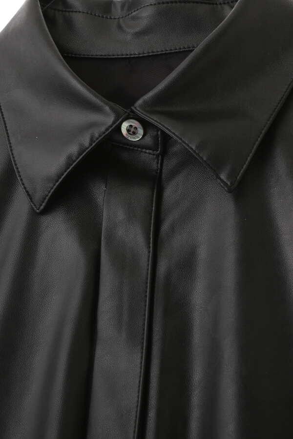 ウォッシャブルフェイクレザーシャツ