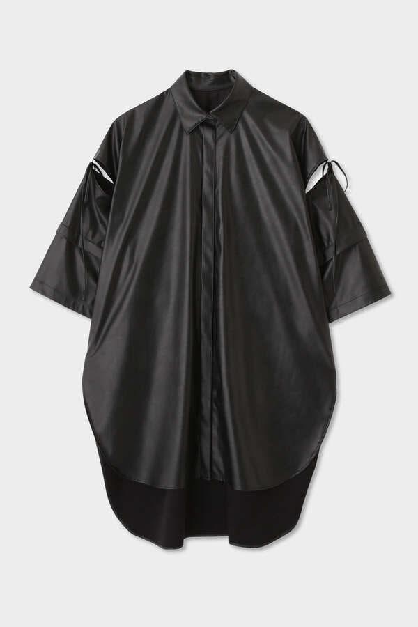 【先行予約 5月下旬-6月上旬 入荷予定】《LE PHIL》ウォッシャブルフェイクレザーシャツ