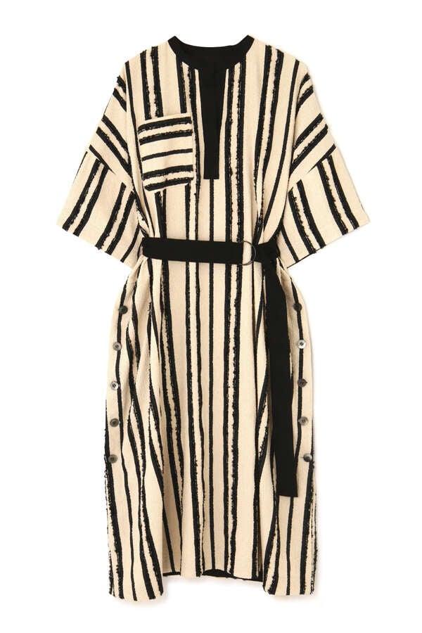 《LE PHIL》ストライプカフタンベルテッドドレス