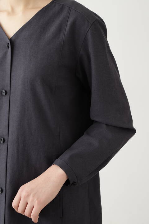 セルロース綿/PE麻ツイルワンピース