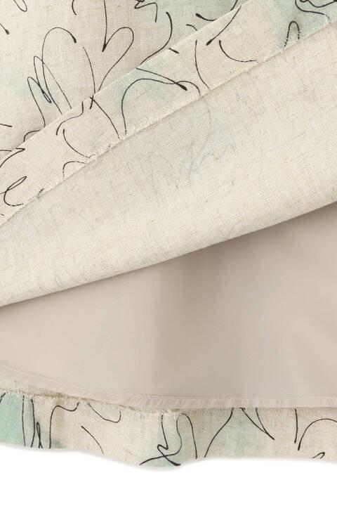 ラインドローイングフラワープリントスカート