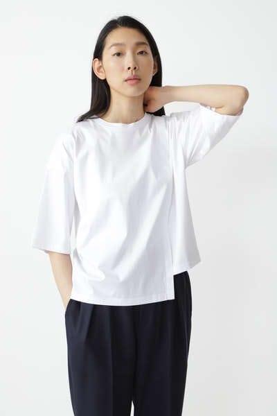 【先行予約 4月中旬-下旬 入荷予定】コットンスムースアシンメトリーTシャツ