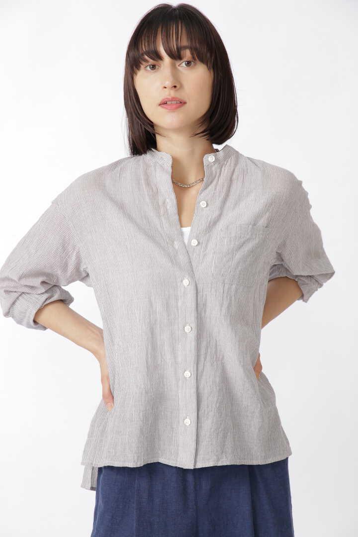 先染めシャーリングストライプシャツ