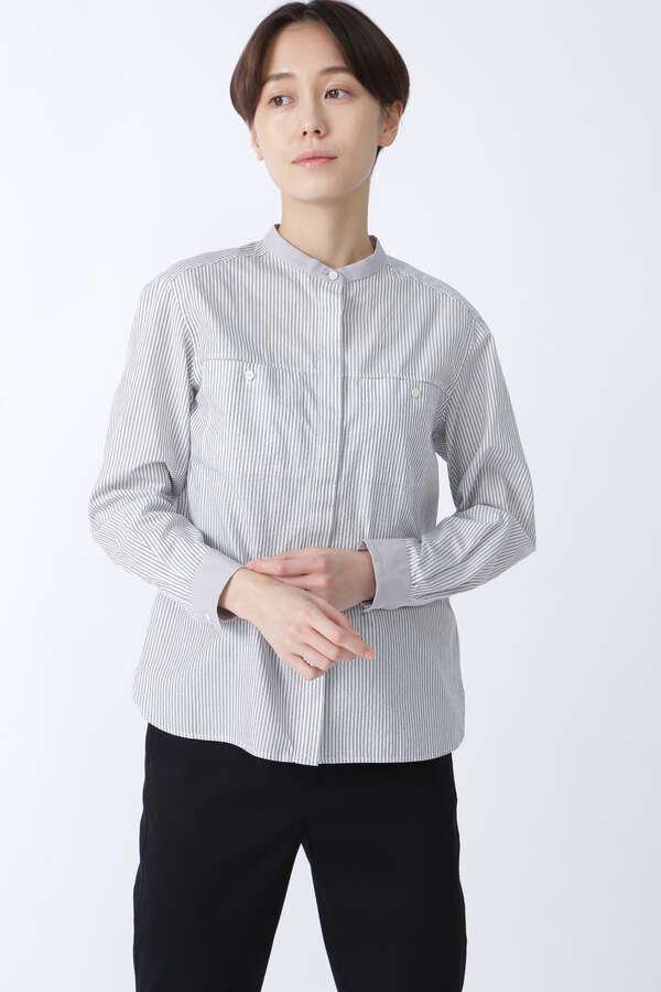 ドビーストライプクレリックシャツ