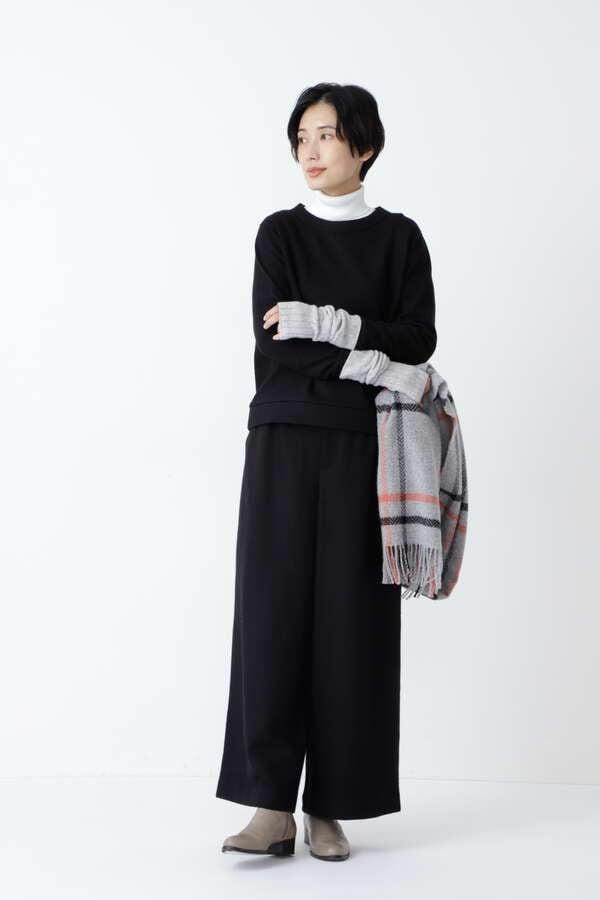 【先行予約 11月中旬-下旬 入荷予定】≪Japan couture≫ 圧縮天竺ウールリラックスパンツ