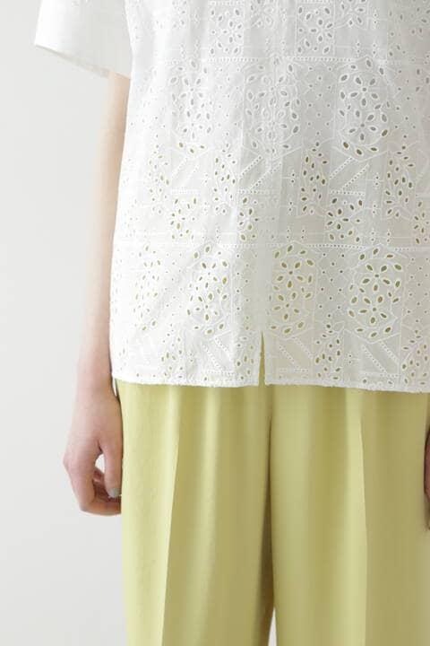 【先行予約 5月上旬-中旬入荷予定】幾何アイレット刺繍ブラウス