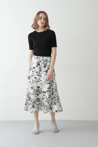 モノトーンオパールプリントスカート
