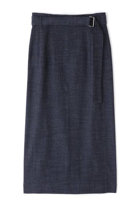 オックスデニムベルテッドタイトスカート