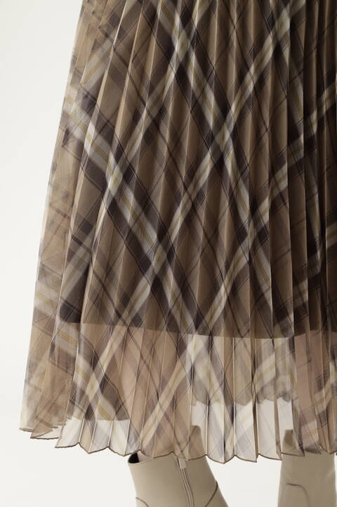 【先行予約 8月下旬-9月上旬入荷予定】チェックオーガンジープリーツスカート