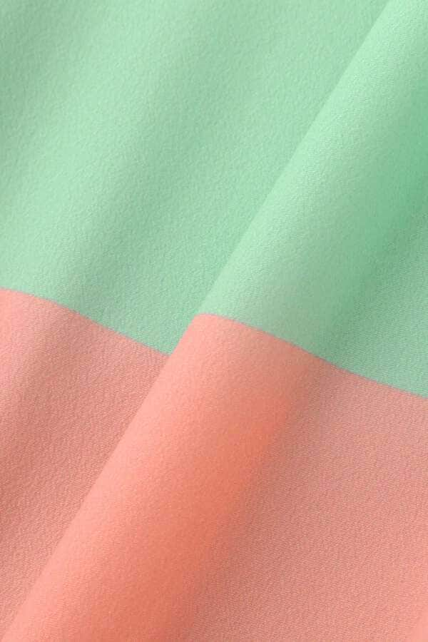 カラーブロックプリントブラウス